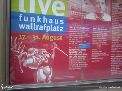 Symphonic Shades poster hanging outside the Funkhaus am Wallrafplatz in Cologne